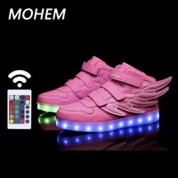 2017 Wing LED luminous for kids children casual shoes usb footwear boys & girls glowing sneaker with 7 colors light up new 25-40
