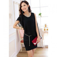 Black Chiffon Twinset Mini Dress