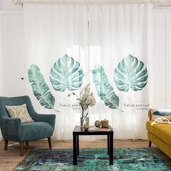 Drapes with Tropical Leaf