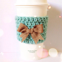 Crochet Coffee Cozy in Teal with Burlap Bow
