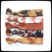 Cocoa Cappuccino Set Tie Dye Hair Ties  (French Twists) Hippie Nature Colors Brown coffee Black Tan Coco Tie Dye Hair tie neutral colors