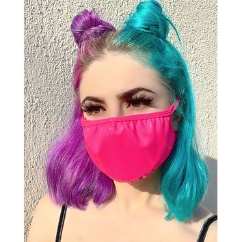 Neon Pink Vinyl Surgical Face Mask