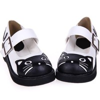 Womens Black and White Cat Mary Janes