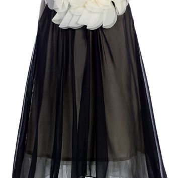 Girls Black Chiffon Shift Dress w. Ivory Petal Trim 2T-14