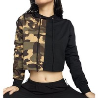 [14895] Cropped Loose Camouflage Sweatshirt