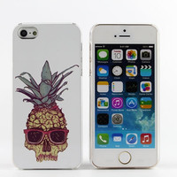 Clear iPhone 5 case iPhone 5s case transparent iPhone cover skull - HTPC5003