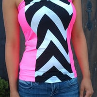 Neon Pink with Black and white Chevron Stretch tube top