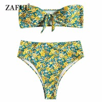 ZAFUL Bandeau Knotted Bikini Swimwear Women High Waist Swimsuit Strapless High Rise Floral Bikini Set Biuqni Tied Bathing Suit