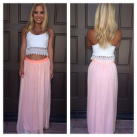 Surf's Up Chiffon Maxi Skirt - Peach