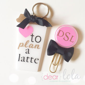 Latte Coffee Mug Keychain, Planner Charm, Planner Keychain, Bookmark, Planner Accessories, Stationery - Monogrammed More Color Options