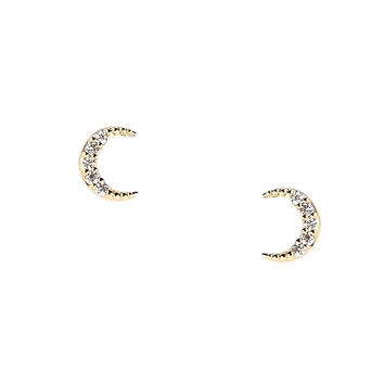Pave Crescent Moon Earrings