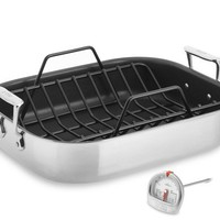 All-Clad Stainless-Steel Nonstick Roaster, with Rack
