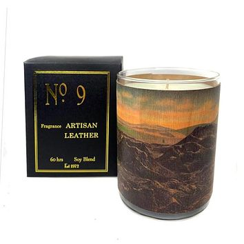 Wood Candle No. 9 Artisan Leather