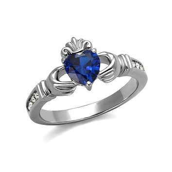 Sapphire Claddagh - High Polished Stainless Steel Ring