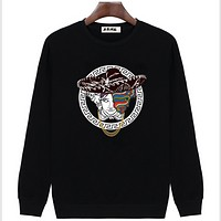 Versace men's autumn and winter models men's sweater casual relaxed loose hood jacket Black