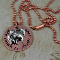 """Handstamped Copper Necklace with Elephant Charm  """"The Lesson is Always Love"""""""