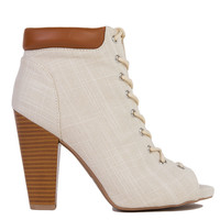 Lace Up Peep Toe Bone Linen Heeled Ankle Booties