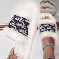 Dior hot new product plush embroidery letters ladies slippers sandals Shoes