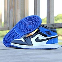 Nike Air Jordan Retro 1 Fashion Women Men High Top Contrast Sports Shoes Sneakers White&Black&Blue