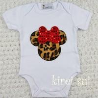 Red Sequin Bow Leopard Minnie Mouse Onesuit