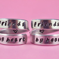 friends by heart  - Spiral Rings Set, Hand Stamped, Handwritten Font, Shiny Aluminum, Friendship, BFF, V2