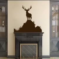 Housewares Vinyl Decal Deer Animal in Mountains Home Wall Art Decor Removable Stylish Sticker Mural Unique Design for Any Room