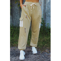 Maybe Later Joggers: Dusty Olive