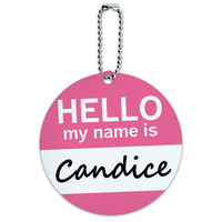 Candice Hello My Name Is Round ID Card Luggage Tag
