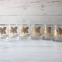 Vintage Set of 6 Libbey Old Fashioned Rocks Glasses with Gold Leaves | Mid-Century Style Glassware