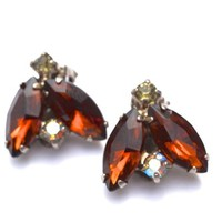 50s/60s Amber Glass Marquise Earrings, Vintage Faux Topaz & Aurora Borealis Rhinestone Clip Ons, Mid Century Jewelry, November Birthstone