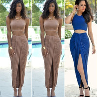 Women High Waist Cropped Outfit 2PCS Crop Top+Pencil Skirt Bodycon Cocktail Casual Dress S-L = 1956583492
