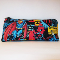 """Superman Superhero Print Cotton Padded Pipe Pouch 7.5"""" / Glass Pipe Case / Spoon Cozy / Piece Protector / Pipe Bag / LARGE"""