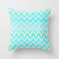glowing chevron Throw Pillow by Marianna Tankelevich
