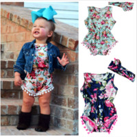 Baby girls Floral Romper Set with head band