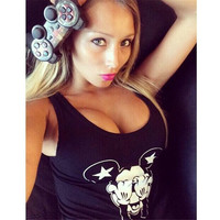 Cartoon Crop Tops Sexy Top Fitness T shirt Bandage Top Tanks Body Shirt