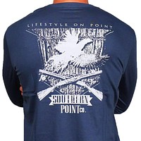 SPC Signature Long Sleeve Pheasant Shield Tee in Navy by Southern Point Co.
