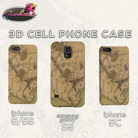 Map of Middle Earth -  iPhone 5 5S 5C Samsung Galaxy S5 Case - Lord of the Rings All-Over Plastic Phone Case