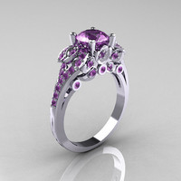 Classic 14K White Gold 1.0 CT Lilac Amethyst Solitaire Wedding Ring R203-14KWGLA