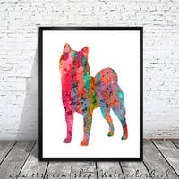 Shiba Inu dog Watercolor Print, Archival Fine Art Print, Children's Wall, Art Home Decor, dog watercolor, watercolor painting, animal art