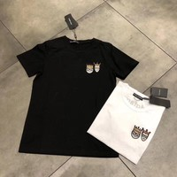 """Dolce & Gabbana"" Women Simple Casual Crown Prince Princess Embroidery Short Sleeve T-shirt Top Tee"