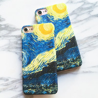 Vincent Van Gogh Starry Sky Oil Painting Case For iphone 7 Case For iphone7 7 Plus Cover Vintage Art Pattern Frosted Phone Cases
