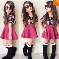 Girls 2 PC Floral Top and Skirt