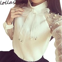 lollas 2017 New Spring Elegant Organza Bow of Pearl White Blouse Casual Chiffon Shirt Women Vintage Sleeve Blouses and Tops