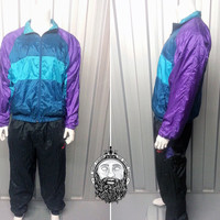 Vintage 80s Puma Blue Teal Purple Windbreaker Jacket Tracksuit Jacket Retro Sportswear 80s Windbreaker Nike Adidas Track Jacket Color Block