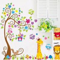 Free Shipping cute Animal giraffe owl Wall Sticker Home Decor Removable colorful tree art Decals Kids Room decoration
