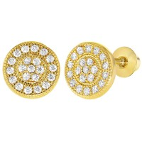 18k Gold Plated Micro Pave Clear Crystal Screw Back Round Girls Earrings
