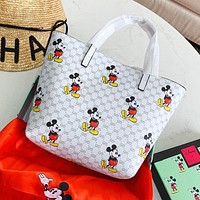 GUCCI Disney Women Shopping Bag Leather Mickey Mouse Print Mini Satchel Handbag Tote