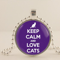 "Keep calm and love cats, purple, 1"" glass and metal Pendant necklace Jewelry."