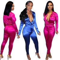 Women Satin Two Piece Fashion Long Sleeve Top Pant Set
