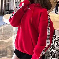 Adidas clover fashion tide brand couple sweater Red